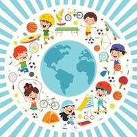 projeto de conceito de esporte com crianças engraçadas vetor