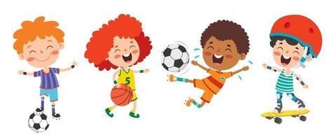 crianças felizes fazendo vários esportes vetor