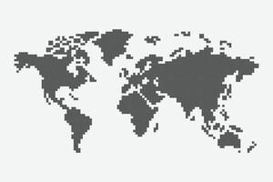 arte de pixel de mapa mundial vetor