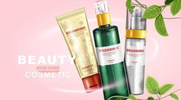 Design de embalagem de produtos para cuidados com a pele natural e folhas com fundo rosa vetor