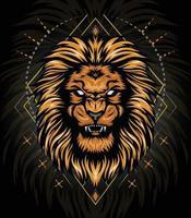 cabeça de leão de ouro de vetor com fundo de ornamento para design de camiseta