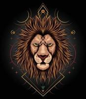 modelo de ilustração de design de arte de leão para camisetas, roupas e mercadorias vetor