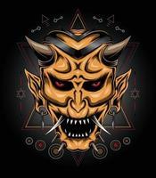 ilustração de máscara do diabo com símbolo sagrado em estilo japonês vetor