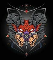 ilustração da cabeça do diabo da arte negra para camisetas de produtos de vestuário vetor
