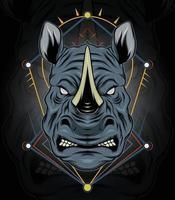 Mascote de design de logotipo de rinoceronte com estilo de conceito de ilustração moderna para emblema de distintivo e impressão de camisetas vetor