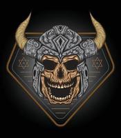ilustração em vetor crânio viking logo