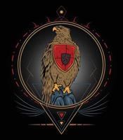 emblema colorido da vida selvagem com ilustração detalhada da águia vetorial vetor