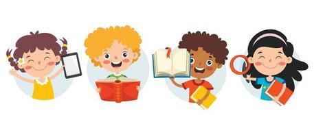 conceito de educação com personagens engraçados vetor