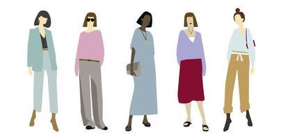 moda casual para mulheres e meninas design plano roupa elegante e limpa vetor