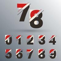 conjunto de número 0 1 2 3 4 5 6 7 8 9 ilustração vetorial de design de falha vetor