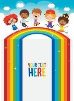 crianças multiétnicas brincando no arco-íris vetor
