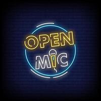 logotipo do microfone aberto, sinais de néon, estilo, vetor de texto