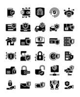 conjunto de 30 ícones sólidos de proteção e segurança vetor