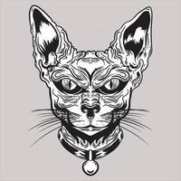 ilustração em preto e branco da cabeça do gato esfinge com colar vetor