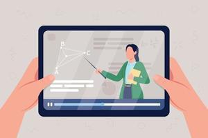 mãos segurando um tablet com vídeo na aula de geometria ilustração vetorial de cor lisa vetor