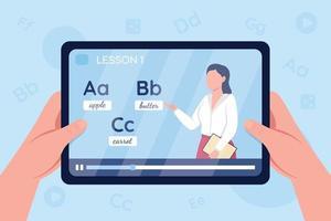 mãos segurando o tablet com vídeo sobre ilustração vetorial de cor plana para aprender inglês vetor