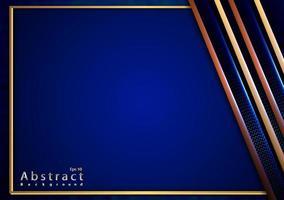 corte de papel elegante fundo dourado com textura azul metálica 3d vetor