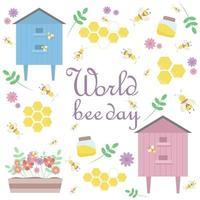 um conjunto de fotos de abelhas, uma colmeia de abelhas, um pote de flores e plantas de mel vetor