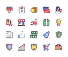 pacote de ícones de loja online vetor