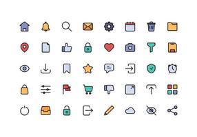 cor da linha do ícone do elemento da interface do usuário vetor