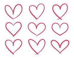 desenho de linha desenhado à mão em forma de coração vermelho para adornar o amor de um jovem casal vetor