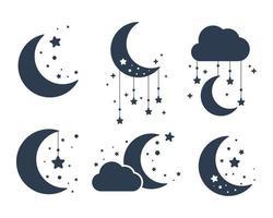 silhueta da lua crescente e estrelas no céu noturno isoladas no fundo vetor