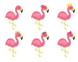 flamingos de desenho vetorial e acessórios de flores, arcos de óculos e chapéus ótimos para viagens de verão vetor