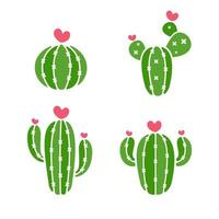 vetor de cactos uma variedade de cactos que estão florescendo são corações rosa isolados no fundo branco