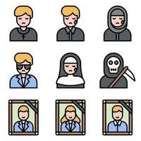 Conjunto de ícones de vetor relacionados a funeral 5 estilo preenchido