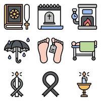 conjunto de ícones de vetor relacionados a funeral 7 cheio de estilo