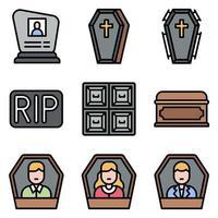 ícone de vetor relacionado a funeral conjunto 3 estilo preenchido