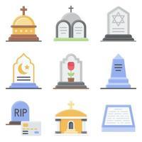Conjunto de ícones de vetor relacionados a funeral 2 estilo simples