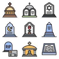 Conjunto de ícones de vetor relacionados a funeral 2 estilo preenchido