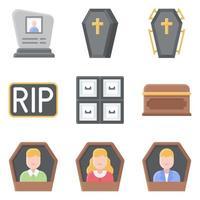 conjunto de ícones de vetor relacionados a funeral 3 estilo simples