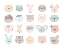 desenhos animados bonitos animais conjunto cabeças girafa elefante preguiça galo panda zebra gato sapo rato veado pinguim guaxinim raposa cachorro coelho vetor
