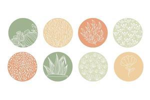 destaque conjunto de capa ícones botânicos florais abstratos para mídia social e conjunto de vetor