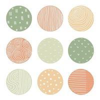 destaque conjunto de capa de fundos ou padrões coloridos abstratos redondos vetor