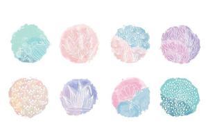 destaque conjunto de capa, ícones botânicos florais abstratos para mídia social. ilustração vetorial. conjunto de destaques da história cobre ícones. vetor