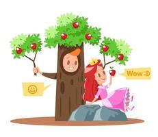 Design de personagens de pequenas princesas e macieiras vetor