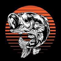 ilustração em vetor bass fish em fundo preto