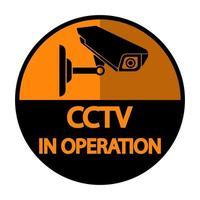 placa de vigilância de vídeo preta com rótulo de câmera cctv vetor