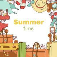 desenho de banner festivo com itens de verão vetor