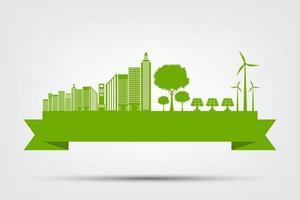 conceito de cidade ecológica e meio ambiente com ideia ecologicamente correta vetor