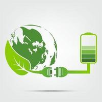 conceito terra verde plugue elétrico folhas ecologia bateria emblema vetor