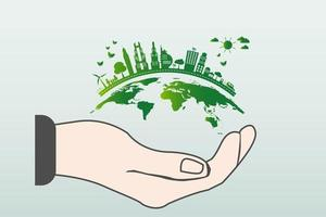 o mundo em suas mãos, as cidades verdes do conceito de ecologia ajudam o mundo com uma ideia de conceito ecologicamente amigável com o globo e a árvore vetor