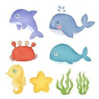 coleção em aquarela de animais subaquáticos desenhados à mão vetor