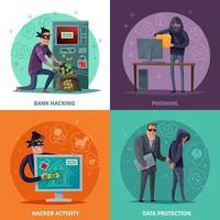ilustração em vetor hacker cartoon design conceito