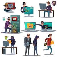 ilustração vetorial conjunto de composição de segurança de hacker de internet vetor