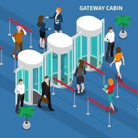 ilustração vetorial de composição de identificação de acesso à cabine vetor