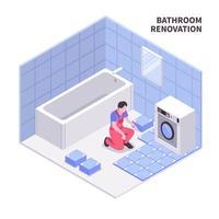ilustração em vetor composição isométrica de reparo de banheiro